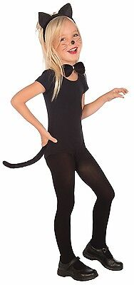 Child Cat Costume Kit Ears Headband Tail Bow Tie Girls Child Kids Black Kitty
