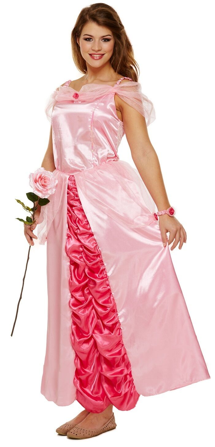 436c3c9a4b Ladies Pink Sleeping Princess Fairy Tale Fancy Dress Costume Outfit UK  8-10-12