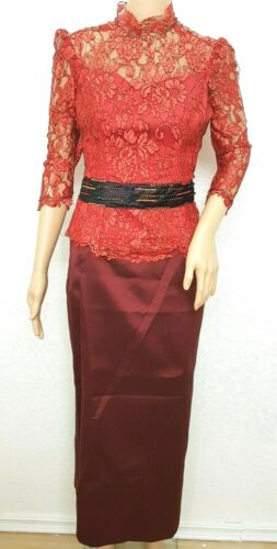 Cambodia Khmer Traditional Out fit Women Size M Burgundy Formal Lace top