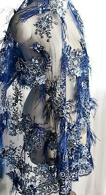 Ausverkauf Luxus Stickereien Hochzeit Blau Spitze Stoff Perlen Feder Kostüm
