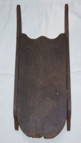 "Antique Primitive Wood Sled with Wrought Iron Runners 30"" x 12"" x 4"", -Very Old"