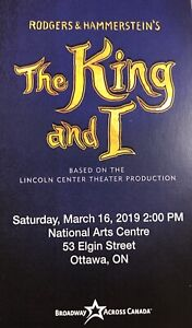 The King and I broadway NAC March 16, 2pm