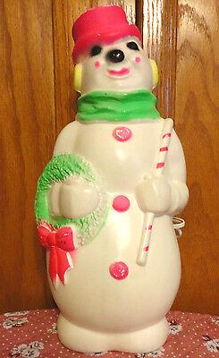 "1968 13"" EMPIRE SNOWMAN WREATH CANDY CANE PINK CHRISTMAS BLOWMOLD LIGHT UP DECOR"