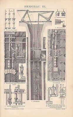 Mining Kohleförderung Fahrschacht Wood Engraving v.1882 Driving Skills