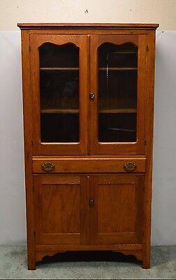 Antique Primitive Country Oak Pantry Cupboard Kitchen Cabinet Hutch
