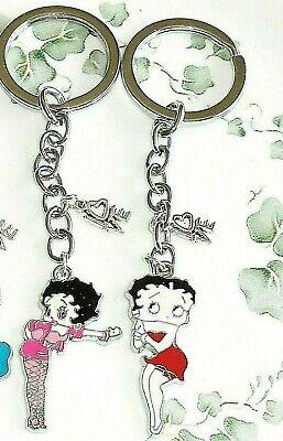 Betty Boop Enamel Keychain ( Betty Boop enamel charm key chain, fob handmade key ring with love 2 choices )