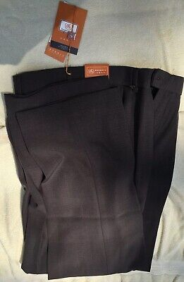 RONGHUA Brown Mens Dress Size 30W X 31L Wool/Polyester Blend Pleated Pants Blend Mens Dress Pants