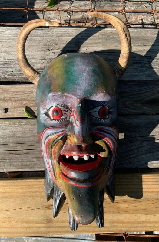 Authentic Aged Cultural Mask Wood Real Horns Magical Mask - SCARCE