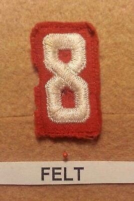 Felt Number - BSA RED FELT TROOP UNIT NUMBER 8 -(FAIR CONDITION) GAUZE BACK 1927~52 FB014