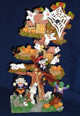 Fantasy Halloween Tree Decoration w/Ghosts Witch & Goblins w/Box by Pumpkin - Witch Tree Decoration