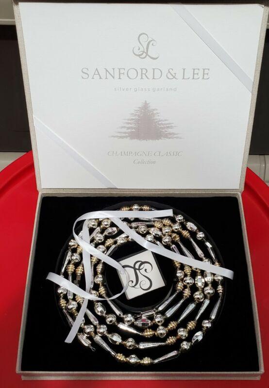 Vintage Christmas Glass Silver Shaped Bead Garland