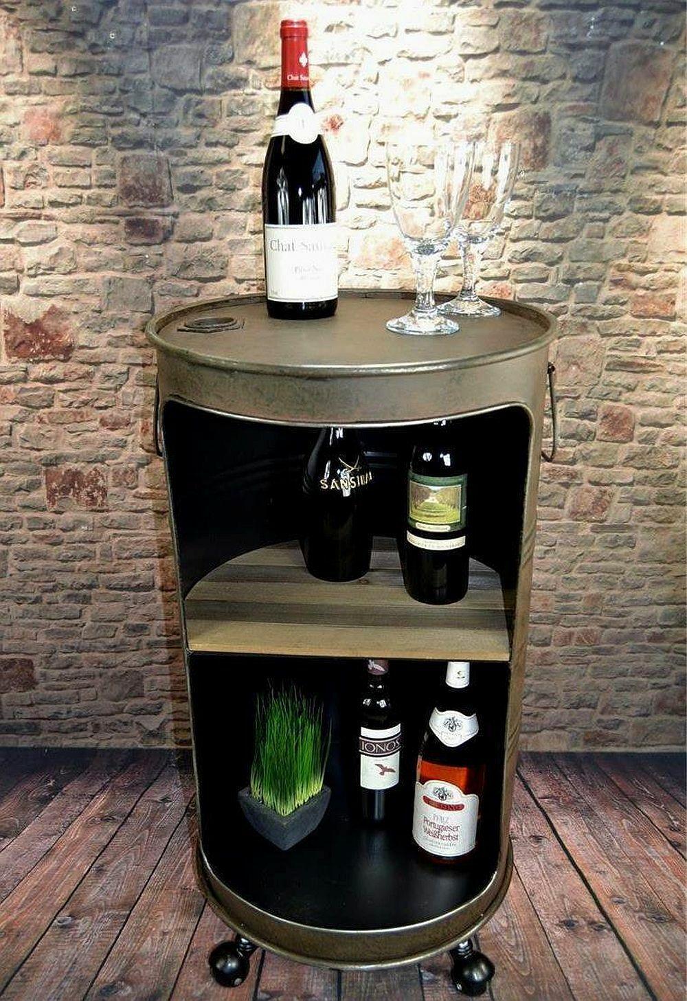 Minibar Hausbar Ölfass rostig H80 cm Industrie Look Loft Vintage Shabby LV5055