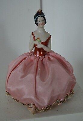 Vintage Porcelain Pincushion German Half Doll Dutch Art Deco Flapper Pink Roses