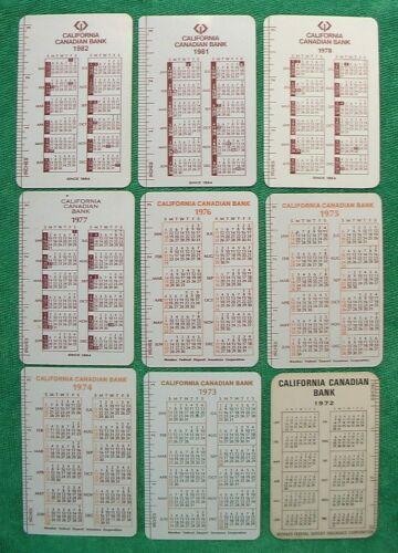 "9 OLD CALIFORNIA CANADIAN BANK 1972-1982 CALENDAR BUSINESS CALLING CARD 3"" RULER"