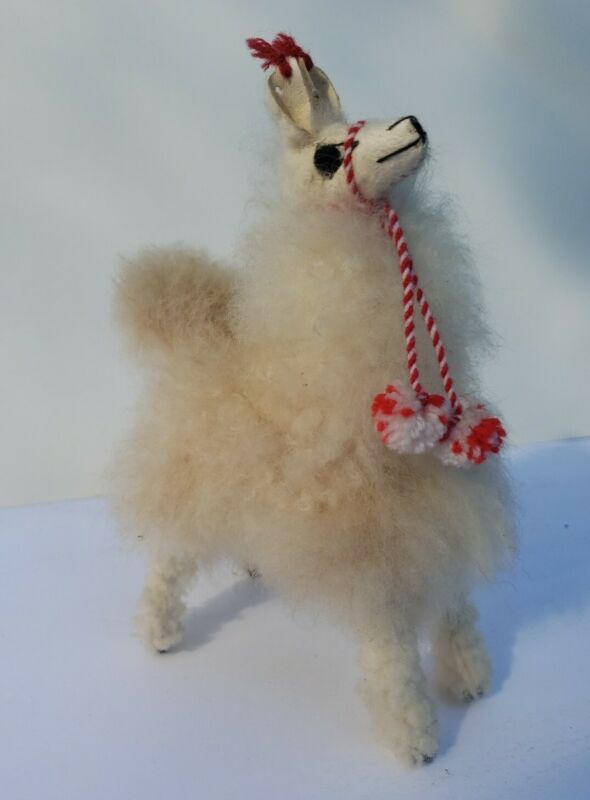 "Llama 6"" White Beige Stuffed Toy Soft Fluffy Real Alpaca Fur Andes Peru Souvenir"