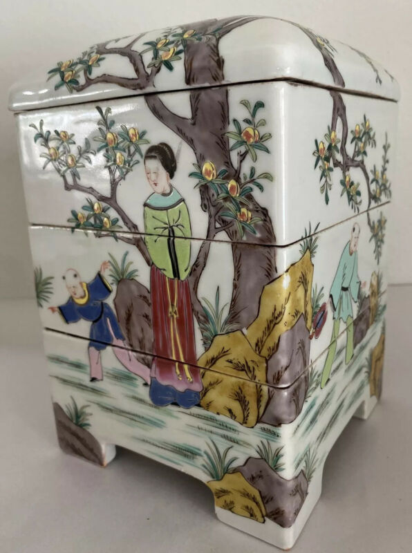 Beautiful Vintage Chinese Asian Porcelain Blossom Tree Stacked Box Jubako Heavy
