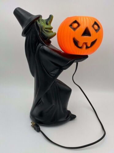 Rare 1960s Blow Mold Halloween Black Witch Holding Pumpkin Jack-O-Lantern Light