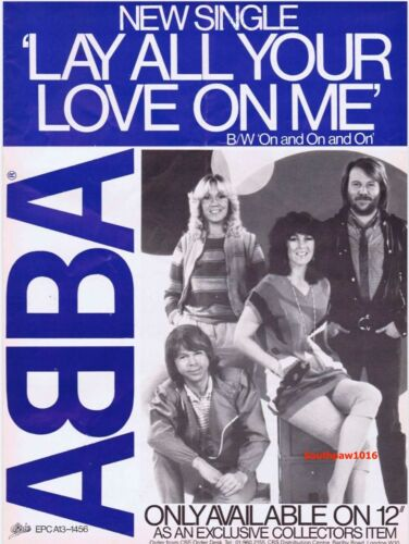 "1980  Abba  ""Lay All Your Love On Me"" Single Release Industry Promo Ad Reprint"