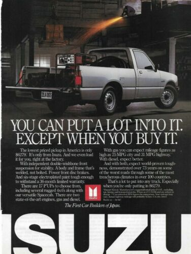 1987 Isuzu Spacecab Pickup Truck Silver Japan Original Color Photo Print Ad