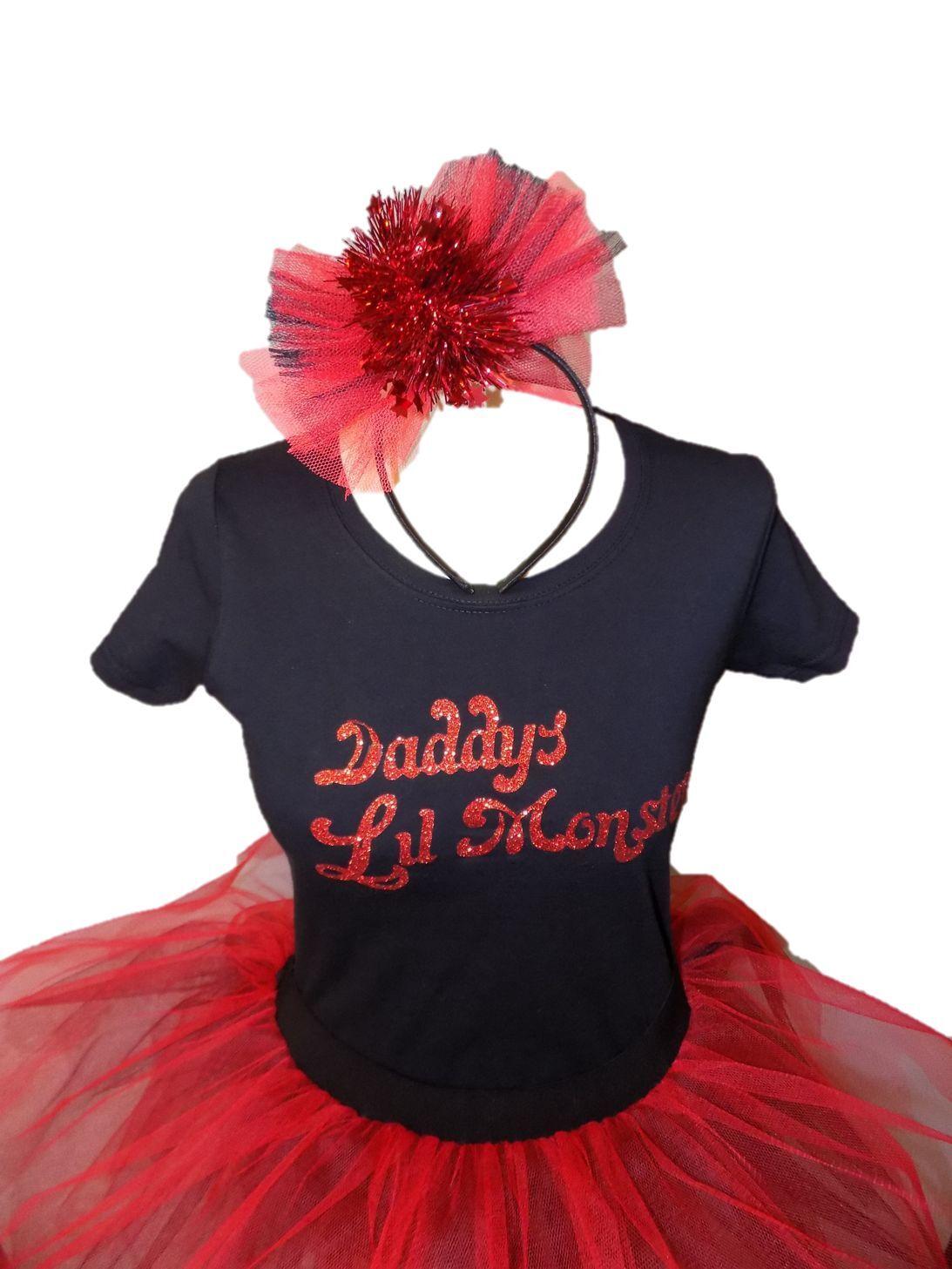 Daddys Lil Monster Halloween Neon Tutu Set Harley Quinn