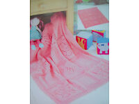 Baby Girls Flower Butterfly Shawl Blanket KNITTING PATTERN DK 70 x 84cm Pram Cot