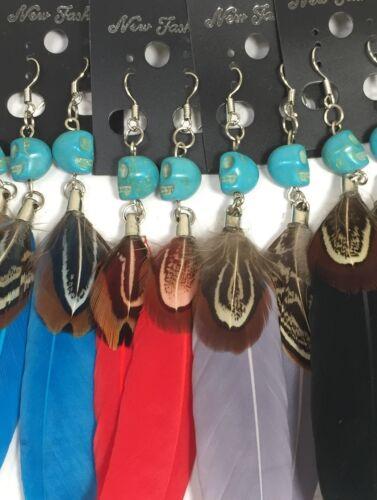 bulk sale//10 pairs turquoise skull bead/ feather earrings/(z152-w1)