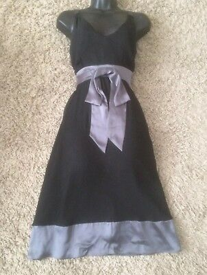 (#2548) HOBBS Lovely Occasion Dress Black Silk with Grey Contrast Size UK 10