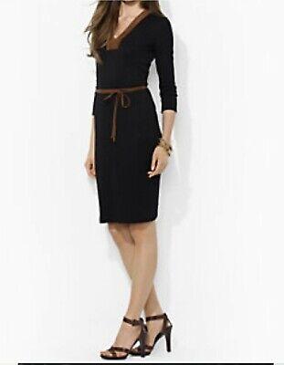 NWT Lauren Ralph Lauren 3/4 Sleeve V Neck Dress Black with Brown Trim Size M