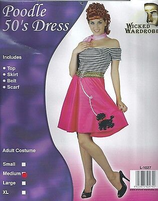 Greased Lightning Costume (Womens 1950s 50's Grease Lightning Poodle Dress Pink fancy dress costume 12)