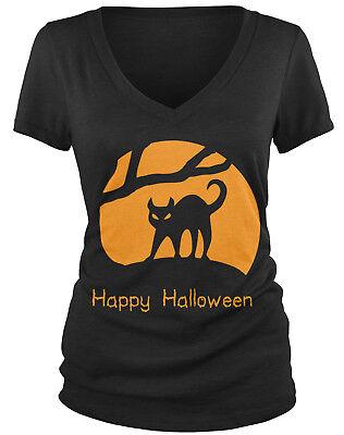 Halloween Tshirts Designs (Happy Halloween - Cat Design Trick or Treat Spooky Juniors V-neck)