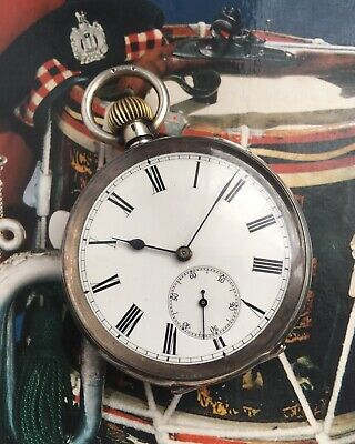 ANTIQUE LABRADOR OMEGA OPEN FACE SILVER POCKET WATCH