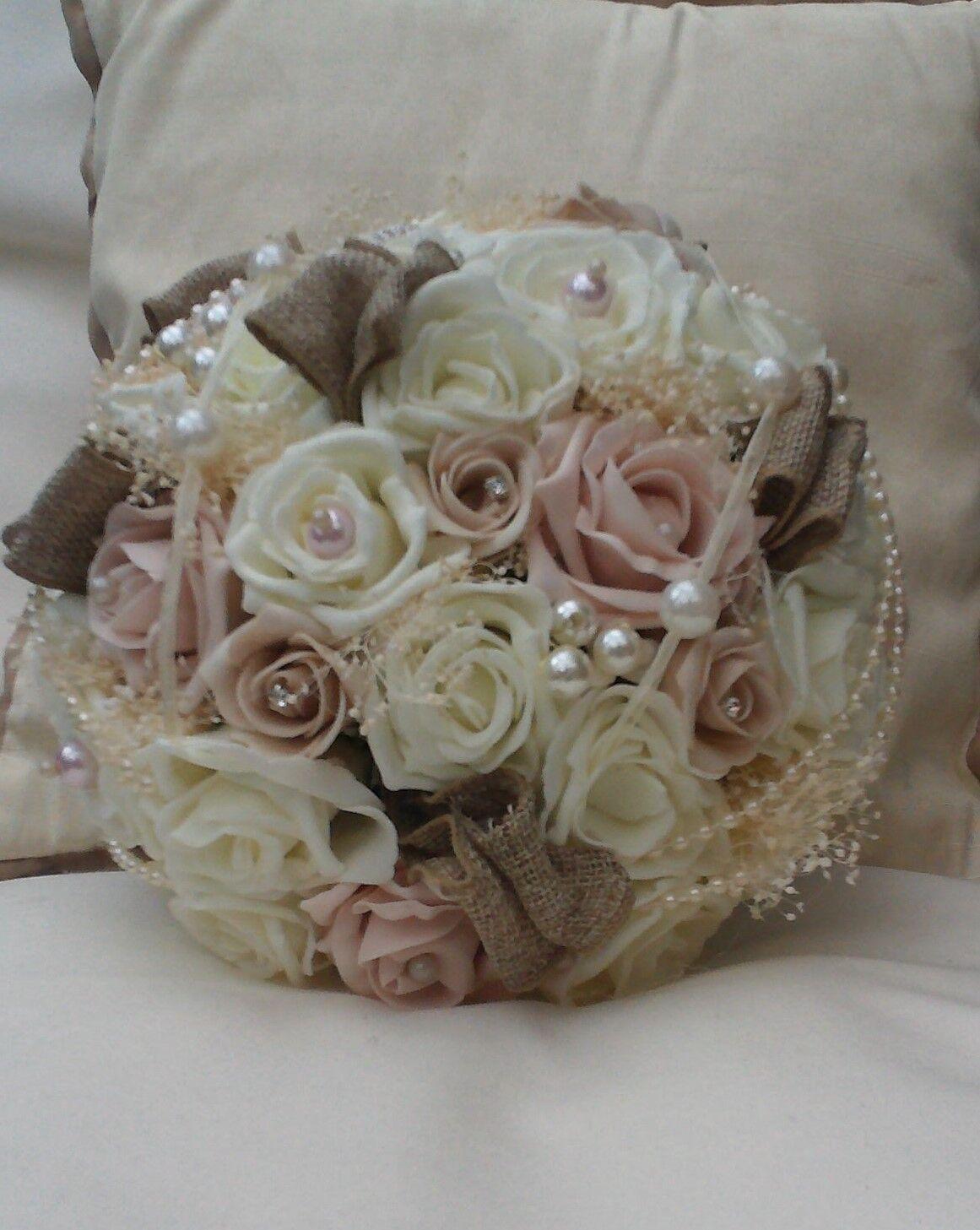 Ivory blush pink roses vintage bouquet burlap hessian bride wedding ivory blush pink roses vintage bouquet burlap hessian bride wedding flowers izmirmasajfo