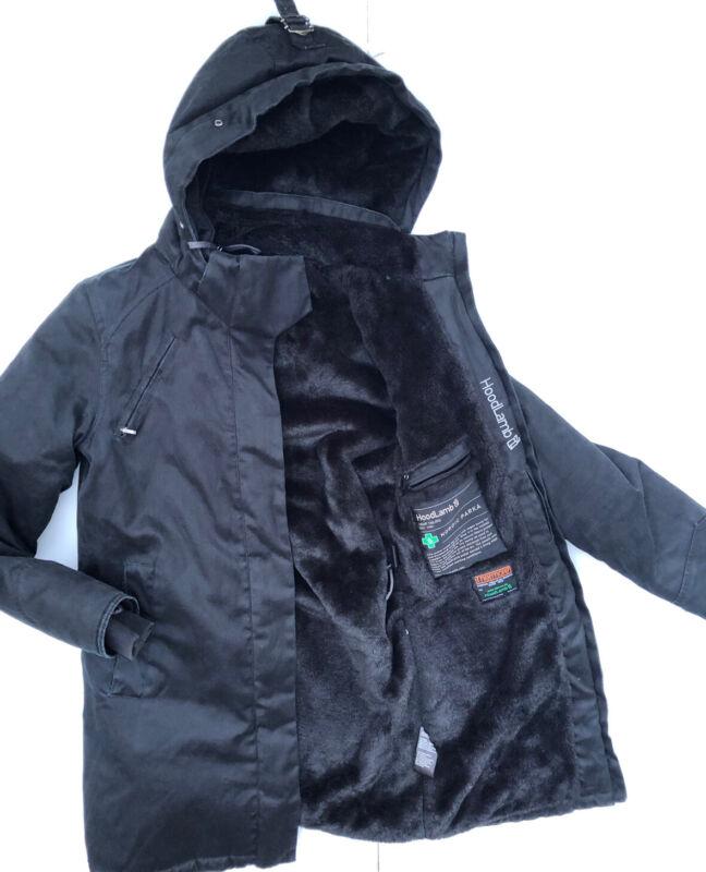Hoodlamb Ladies Nordic Parka Black Small  Hemp Tailor Noordic Vegan Faux Fur