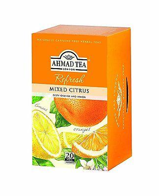 New ! 20 Foil Tea bags Ahmad Tea Mixed Citrus Flavoured  Black Tea, used for sale  Linden