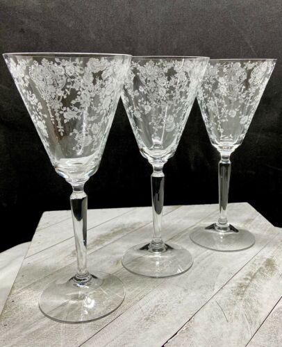 Vintage Cambridge Glass Rose Point Water Goblet/Wine - Stem # 3106-Rare-Set of 3