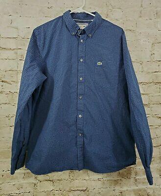 Lacoste Button Down Shirt Blue Plaid Size Large 42 Long Sleeve