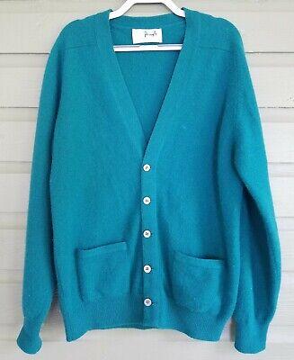 PRINGLE Womens Vintage Soft 100% Cashmere Teal Cardigan Sweater Scotland Sz 44 L