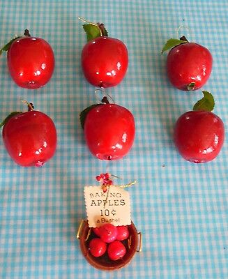 Christmas Ornament Lot of 7 Red Apples Basket Decorations GUC Gift