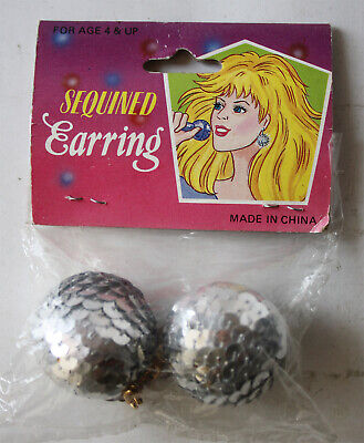 RARE VINTAGE 90'S DISCOBALL SEQUINED EARRING JEM HALLOWEEN CHINA NEW NOS !