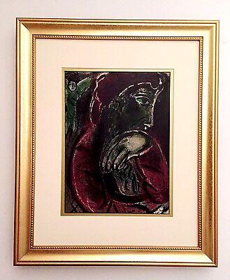 "Marc Chagall 1960 Original Lithograph ""Job in Despair"" M254 Bible Drawings $1800"
