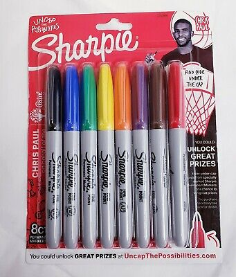 Sharpie Coloring Markers Set 8ct Permanent Fine Point Limited Edition Chris Paul