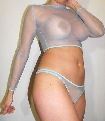 Top Hemdchen Oberteil M/L BLAU BLEU BABYBLAU sheer extrem transparent unisex ()