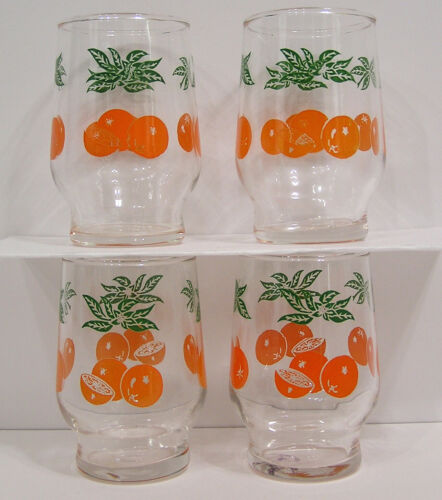 """Vintage Federal Glass 5 oz Oranges Juice Glasses 3.5"""" tall Four Matching Glasses"""
