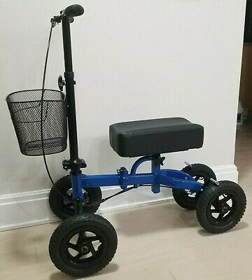 All Terrain Steerable Medical Knee Scooter with Basket (Heavy Duty) Metalic/Blue