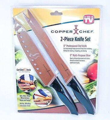 Copper Chef 2 Piece Knife Set Professional Chef Knife Multi-Purpose Slicer - 2 Piece Set Slicer Cutlery Sets