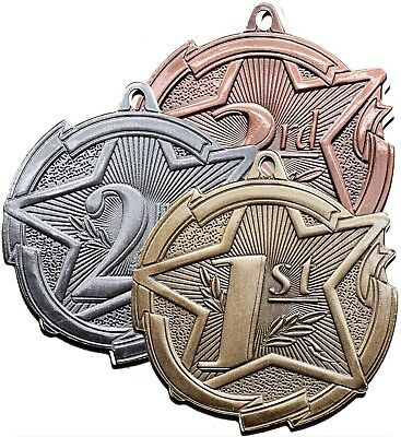1ST 2ND 3RD  PLACE MEDAL. GOLD, SILVER, BRONZE. FREE  ENGRAVING. FREE RIBBON. - First Place Medal