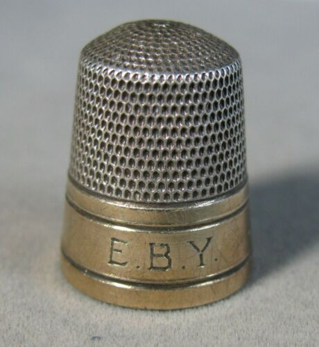 Vintage Sterling Silver Gold Trimmed Sewing Thimble  Signed  #J3251