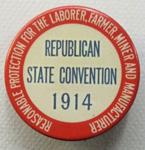 1914 REPUBLICAN STATE CONVENTION pinback button w/paper LABOR Wisconsin? ^