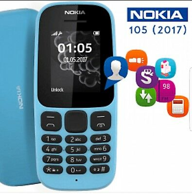 NOKIA 105 2017 BLUE BRAND NEW BOXED MOBILE PHONE UK MODEL UNLOCKED SIM FREE 2G