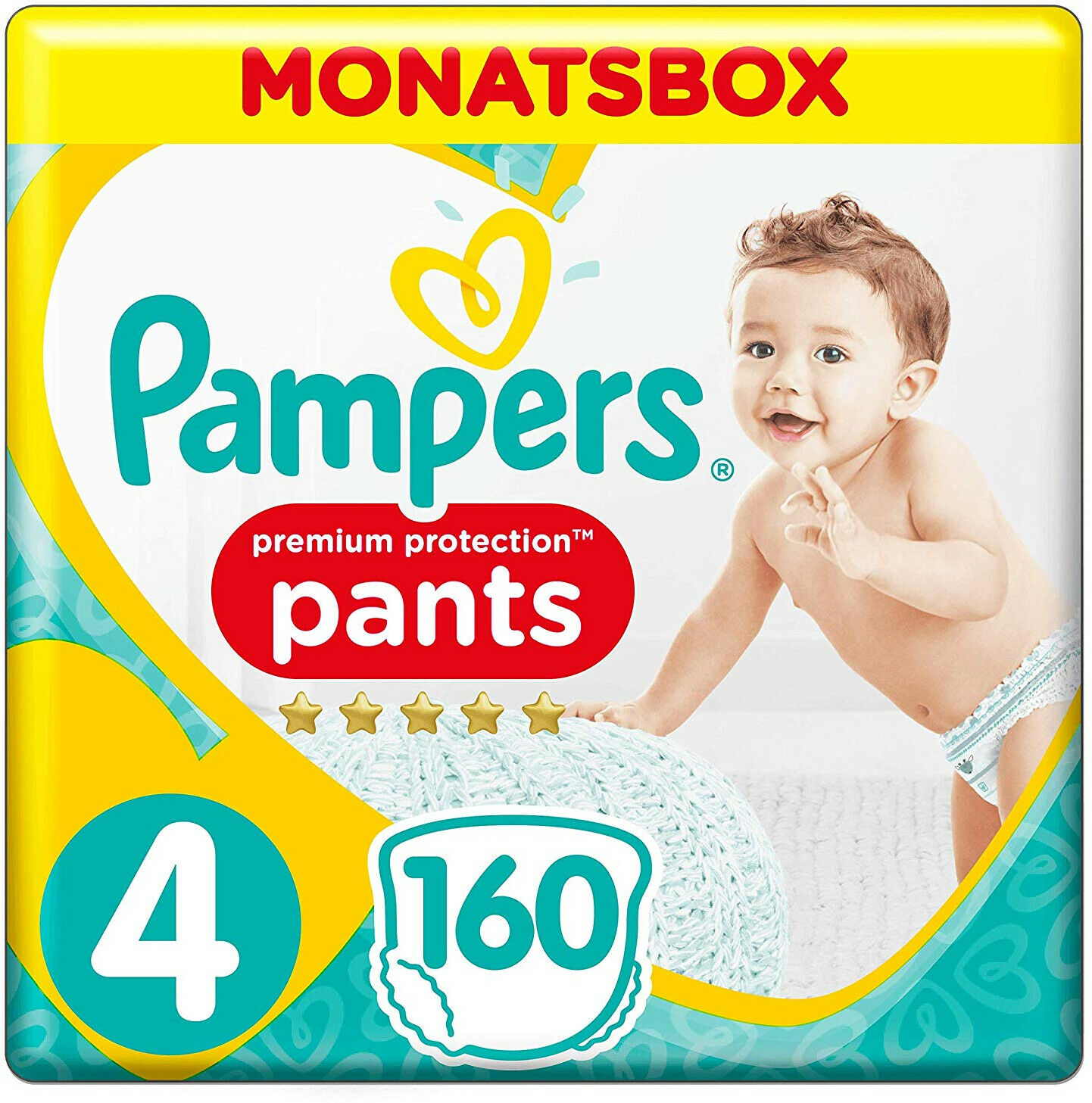 Pampers Premium Protection Active fit Pants Gr. 4 9-15 kg Monatsbox 160 Stück